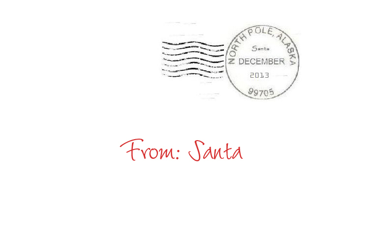 Image gallery north pole address for Postmarked letter from santa
