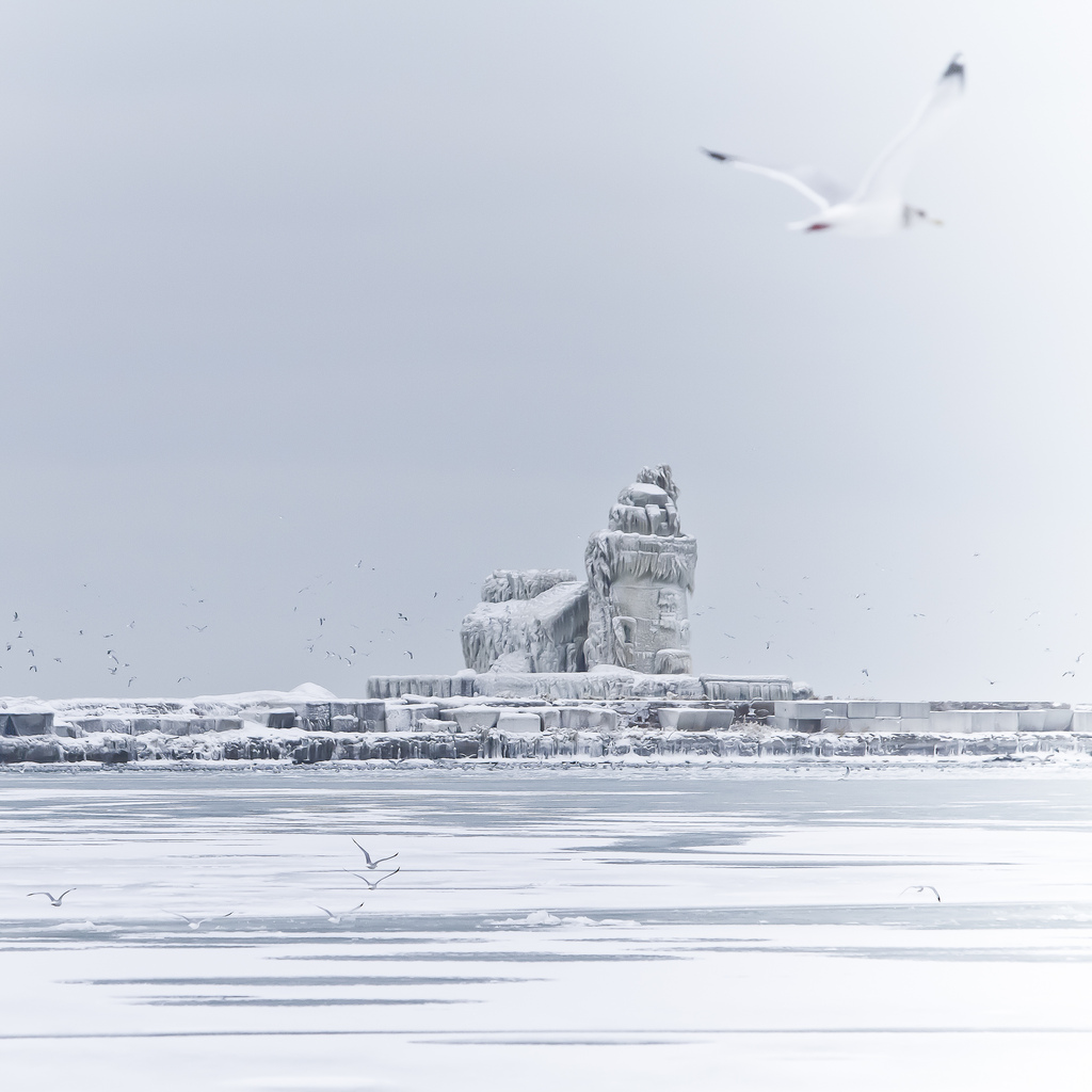 Cleveland lighthouse covered with ice