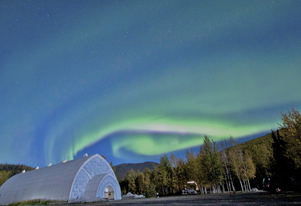 The aurora borealis dances over the Chena Hot Springs Aurora Ice Museum. Photo courtesy of Travis Knauss.