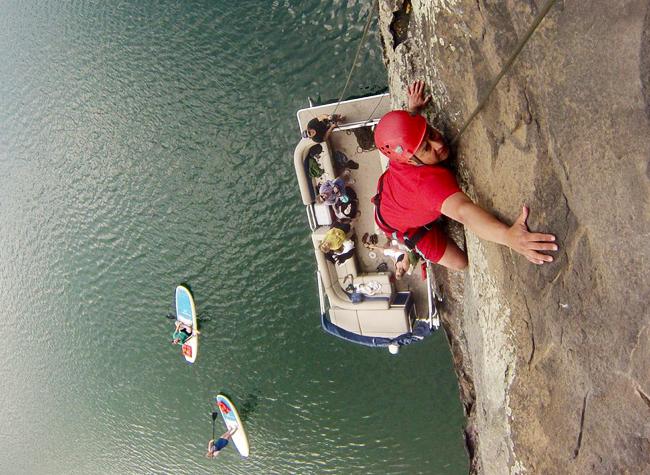 Rock climbing at Summersville Lake.