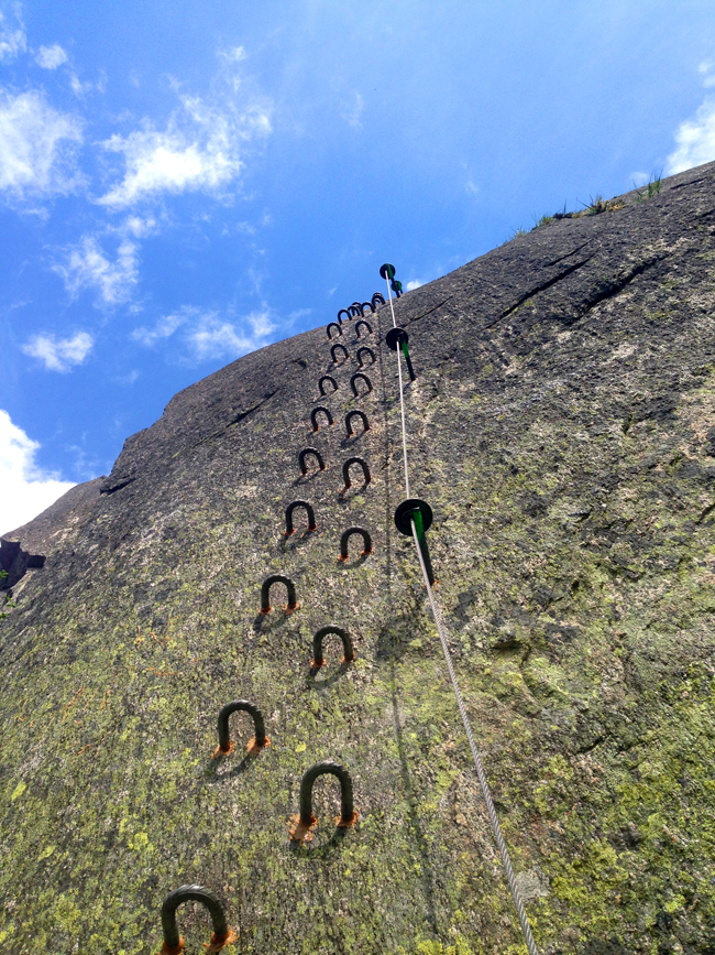 The Via Ferrata Diavolo is a 1,500-foot vertical climb  assisted by 2500 feet of steel cable, two ladders and 350 iron steps bolted in the sheer rock face.