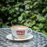 Organic coffee in the back garden of Cafe Bisetti