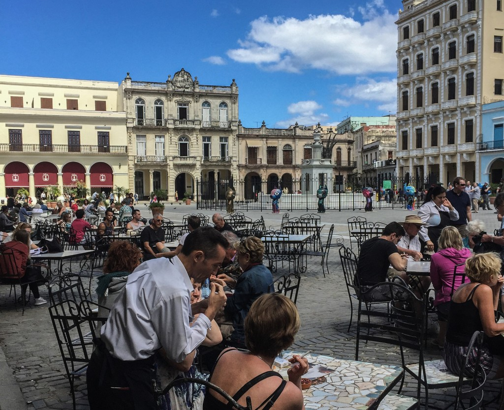 Al fresco dining in Havana's Plaza Vieja.